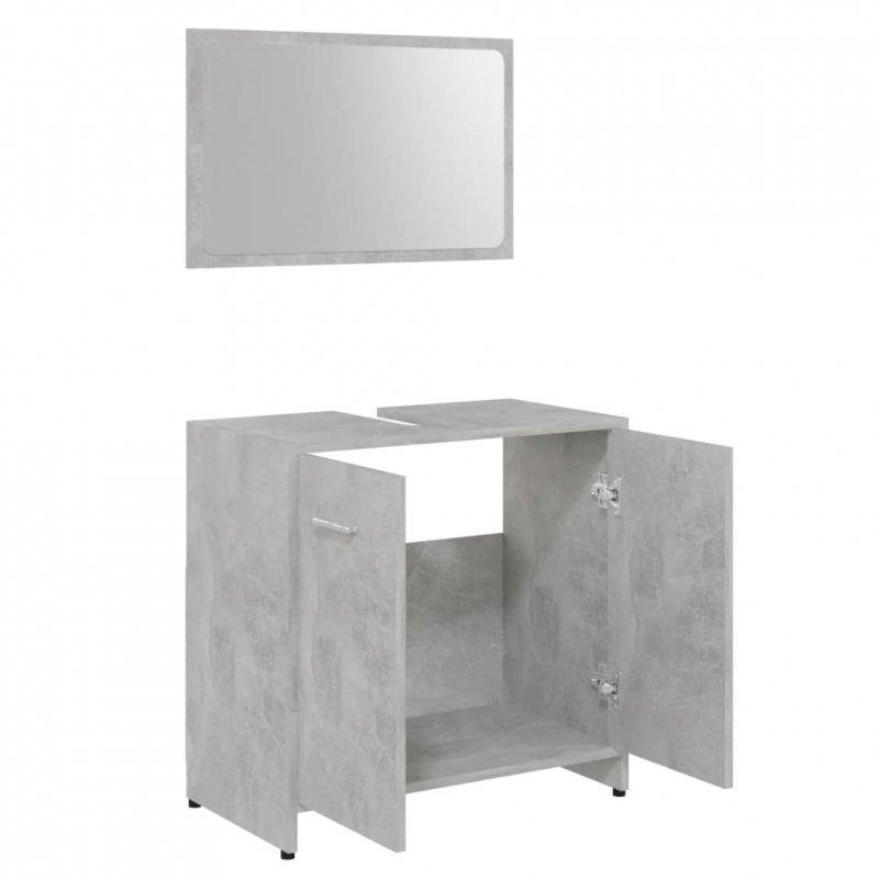 Zestaw mebli łazienkowych, szarość betonu, płyta wiórowa