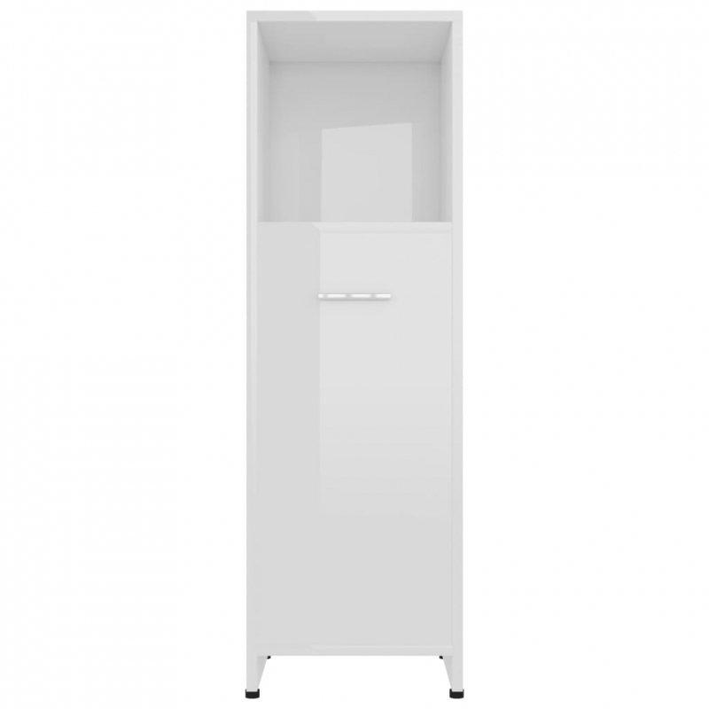 Szafka łazienkowa, biała, wysoki połysk, 30x30x95 cm, płyta