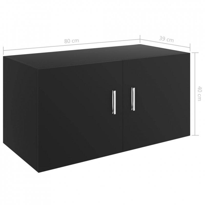 Szafka ścienna, czarna, 80x39x40 cm, płyta wiórowa
