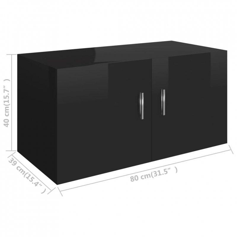Szafka ścienna, wysoki połysk, czarna 80x39x40cm, płyta wiórowa
