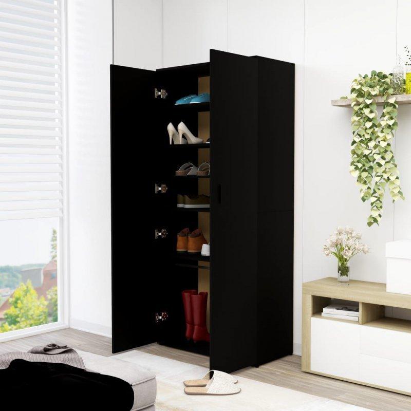 Szafka na buty, czarna, 80x39x178 cm, płyta wiórowa