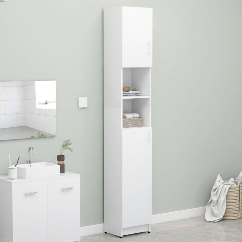 Szafka łazienkowa, biała, 32x25,5x190 cm, płyta wiórowa
