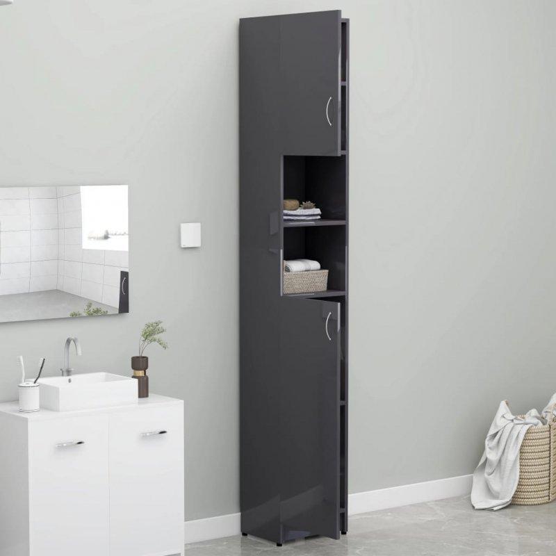 Szafka łazienkowa, szary z połyskiem, 32x25,5x190 cm, płyta
