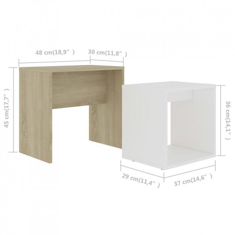 Zestaw stolików kawowych, biel i dąb sonoma, 48x30x45 cm
