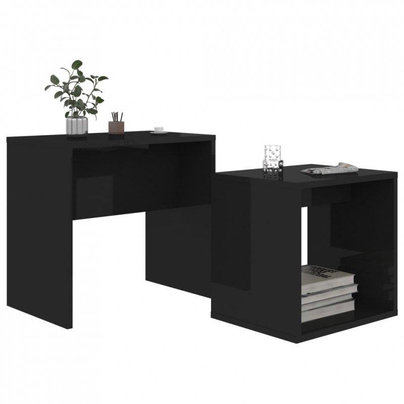 Zestaw stolików kawowych, czarny o wysokim połysku, 48x30x45 cm