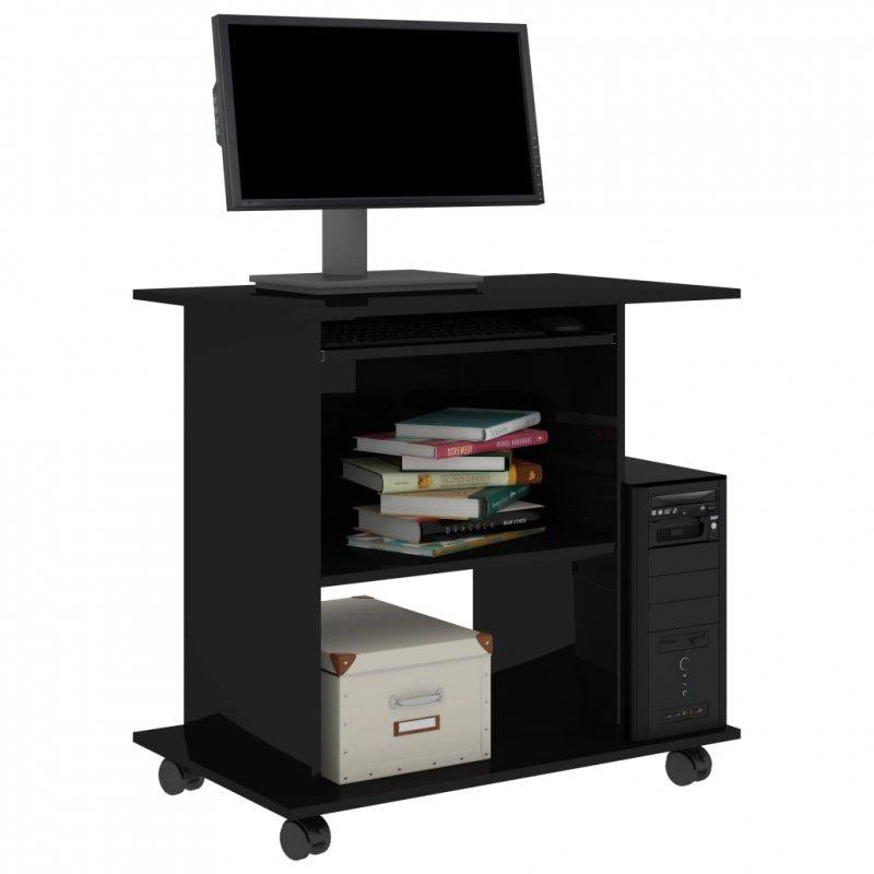 Biurko komputerowe, czarne, wysoki połysk, 80x50x75 cm, płyta
