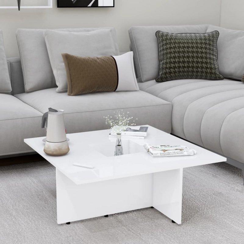 Stolik kawowy, biały na wysoki połysk, 79,5x79,5x30 cm