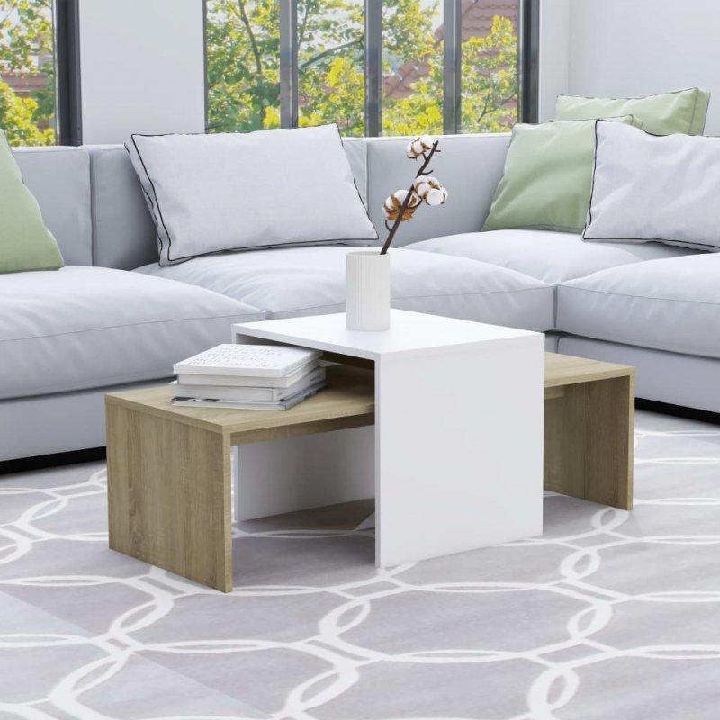 Stolik kawowy, biały i dąb sonoma, 100x48x40 cm, płyta wiórowa