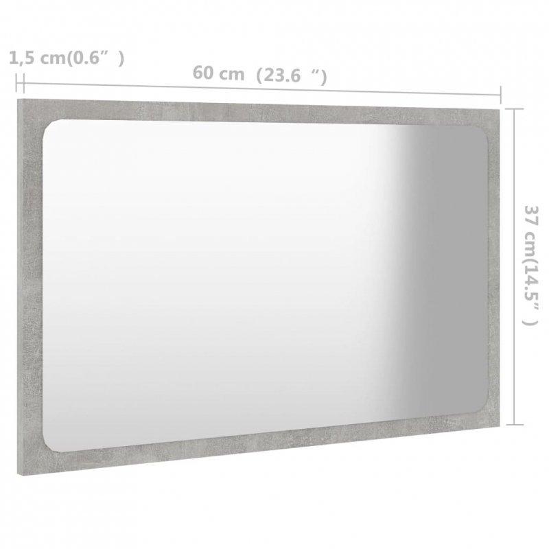 Lustro łazienkowe, szarość betonu, 60x1,5x37 cm, płyta wiórowa