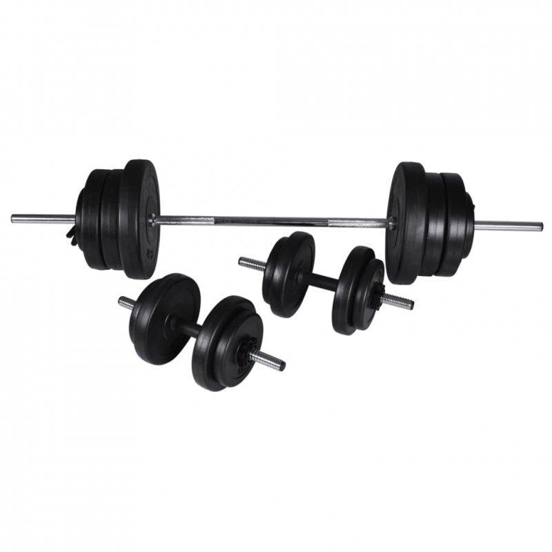 Zestaw sztangi i 2 hantli, 60,5 kg