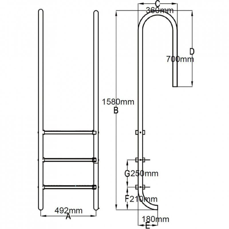 Drabinka basenowa z 3 stopniami, stal nierdzewna, 120 cm