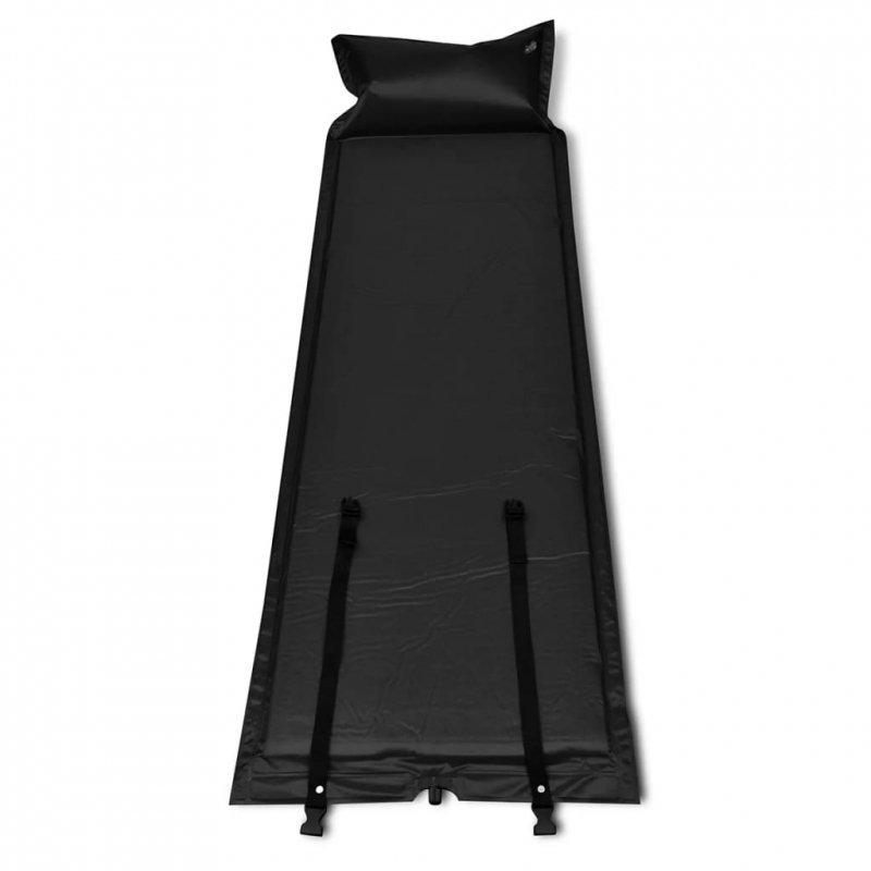 Czarna, samopompująca się mata, 185 x 55 x 5 cm