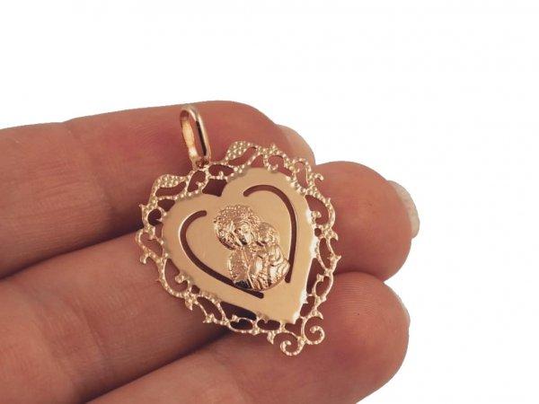 Wisior  MEDALIK wycinane serce złoto 585 14cT