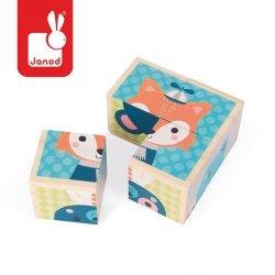 Klocki drewniane Puzzle 6w1 Las