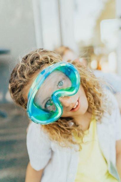 Maska do pływania Lawa, limonkowa, z żelem w podwójnej soczewce,  6+