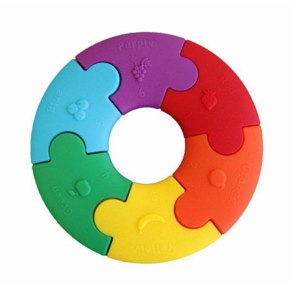 Pierwsze puzzle sensoryczne, 6 elementów, tęczowe kółko, 6m+