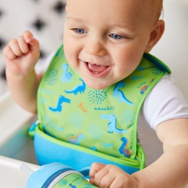 Śliniak dla niemowlaka w saszetce z łyżeczką, Dino Time