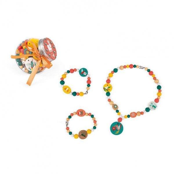 Zestaw do tworzenia biżuterii Drewniane koraliki z elementami fluorescencyjnymi Kolibry