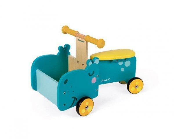 Drewniany jeździk ze skrzynią Hipopotam