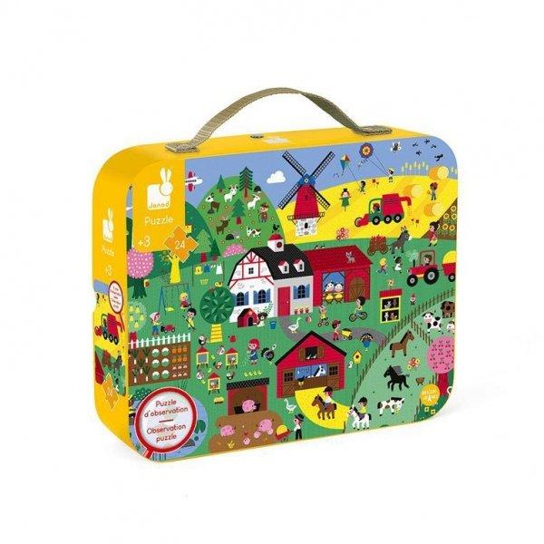 Puzzle obserwacyjne w walizce Farma 24 elementy