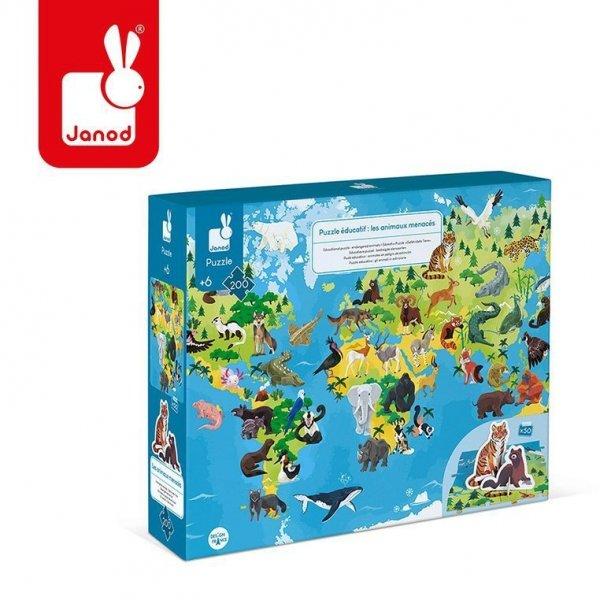 Puzzle edukacyjne z figurkami 3D Zagrożone gatunki 200 elementów 6+