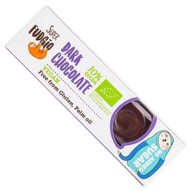 Czekoladowy baton z ciemnej czekolady bez dodatku cukru Super Fudgio BIO, 40g