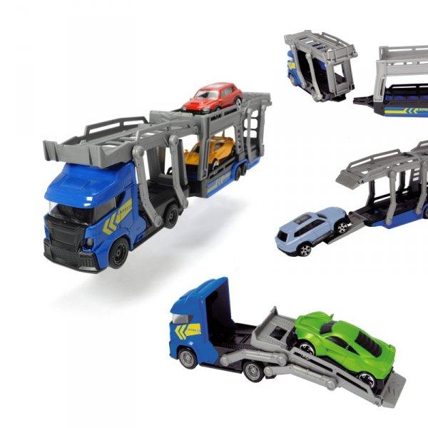 DICKIE CITY Laweta z 3 samochodami Niebieska