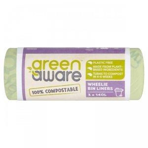 GreenAware, Kompostowalne worki na odpady spożywcze, 140L, 3 szt.