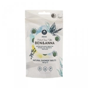 BEN and ANNA, Naturalne tabletki do mycia ciała, aqua, 120 g