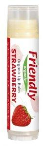 Friendly Organic, Organiczny balsam do ust Truskawkowy, 4,25g