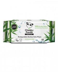 Nawilżane chusteczki bambusowe dla dzieci 64 sztuki - 99% woda, 1% wyciąg z aloesu i owoców