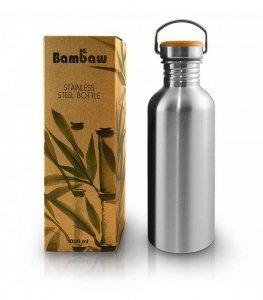 Butelka metalowa ze stali nierdzewnej z bambusową nakrętką 1L