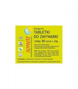 Ekologiczne, wegańskie tabletki do zmywarki 80 sztuk