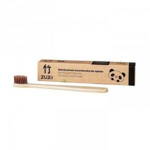 Naturalna, wegańska szczoteczka do zębów dla dzieci bambusowa SOFT brązowa