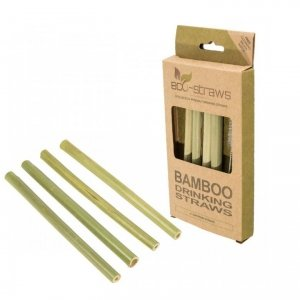 Zestaw 4x: Bambusowe wielorazowe słomki do picia 145mm + czyścik