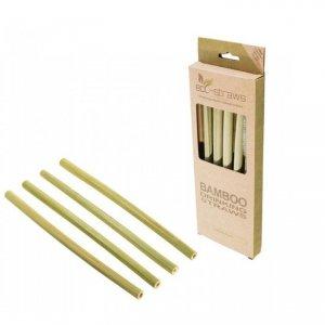 Zestaw 4x: Bambusowe wielorazowe słomki do picia 215mm + czyścik