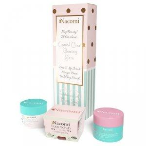 Nacomi - Domowe Spa zestaw maska oczyszczająco-ściągająca Różowa 50g + odświeżający peeling do twarzy i ust Arbuz 50g + pyłek oczyszczająco-detoksykujący 20g