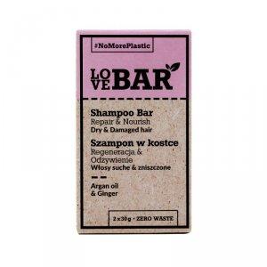 Love BAR - Shampoo Bar szampon w kostce do włosów suchych i zniszczonych Olej Arganowy & Imbir 2x30g