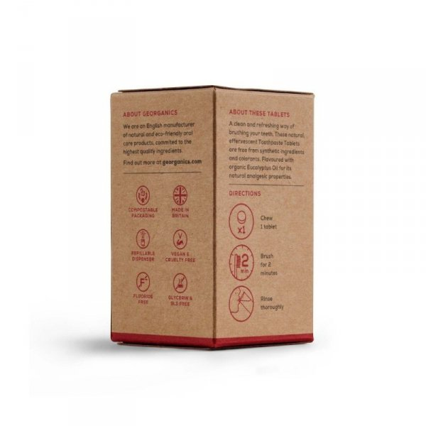 Georganics, Naturalne tabletki do mycia zębów, Eucalyptus, 120 tabletek
