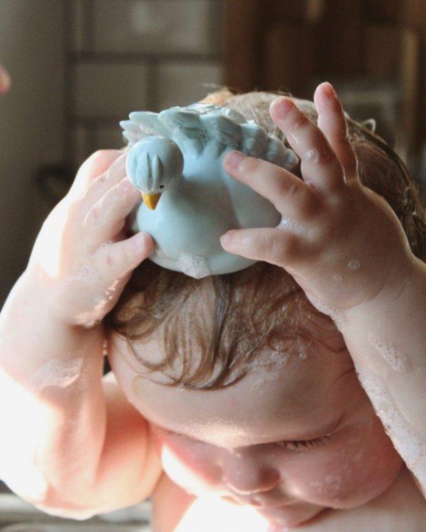 Natruba, Naturalny gryzak, zabawka do kąpieli, Paw, jasnoniebieski