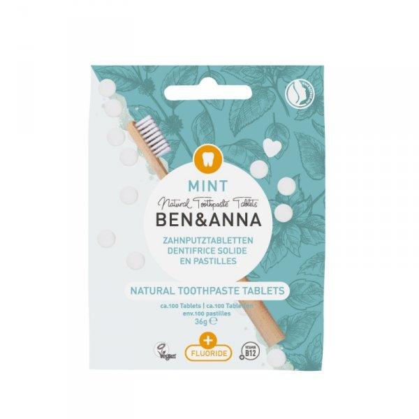 BEN and ANNA, Naturalne tabletki do mycia zębów z fluorem, 36 g
