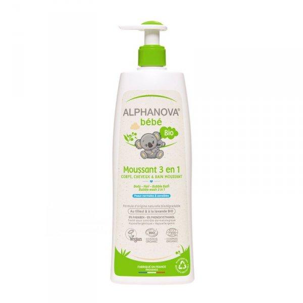 Alphanova Bebe, Organiczny Płyn do Kąpieli dla dzieci 3 w 1, 500 ml