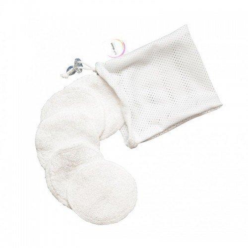 SOFT MOON Wielorazowe płatki waciki kosmetyczne białe bawełna organiczna i frota bambusowa 5szt + woreczek do prania