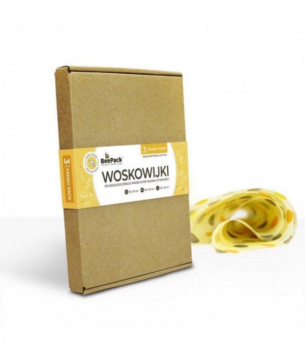 BeePack Woskowijki FAMILY PACK Woskowana tkanina do zawijania 3 szt.