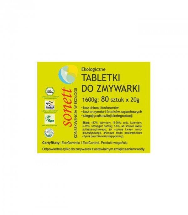 SONETT Ekologiczne, wegańskie tabletki do zmywarki 80 sztuk