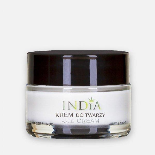 INDIA COSMETICS Krem do twarzy do każdego typu ceru cery dzień/noc z olejem konopnym 50ml