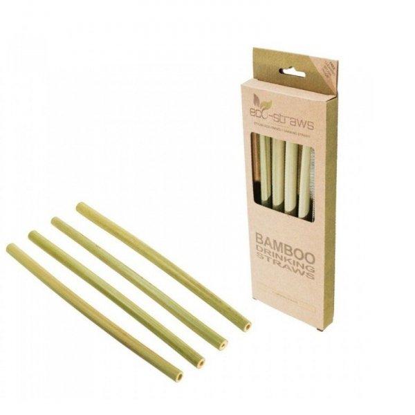 ECOSTRAWZ Zestaw 4x: Bambusowe wielorazowe słomki do picia 215mm + czyścik
