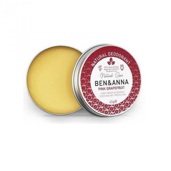 BEN & ANNA Naturalny dezodorant na bazie sody 0% aluminium w kremie w puszce PINK GRAPEFRUIT 45g
