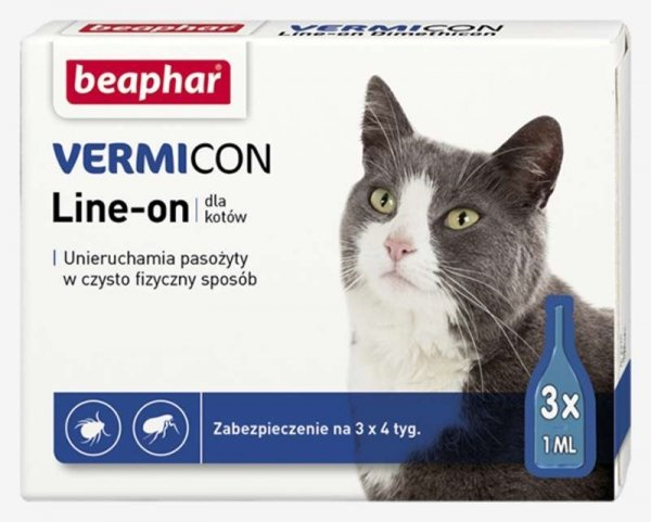 beaphar Vermicon dla Kota 3x1ml krople przeciw kleszczom i pchłom