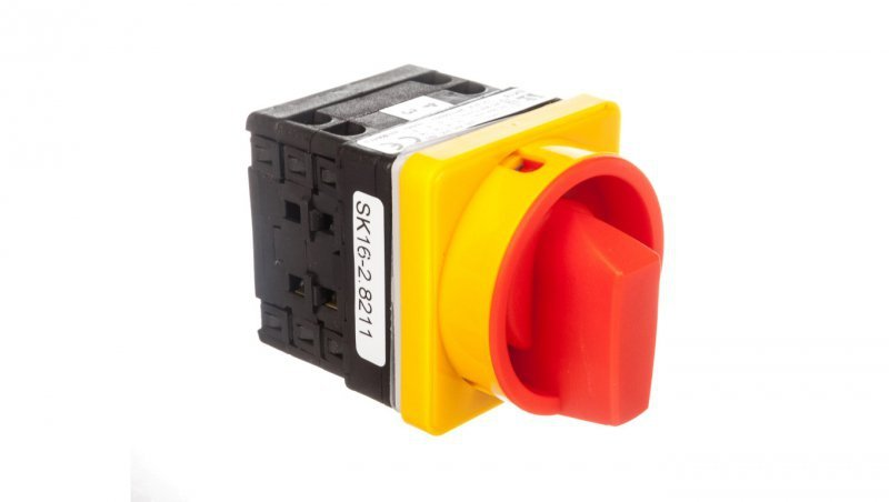 Łącznik krzywkowy 0-1 16A 3P do wbudowania żółto-czerwony SK16-2.8211P08